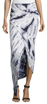 Young Fabulous & Broke jersey maxi skirt.  Fitted silhouette.  Pull-on style.  Ruched-side detail.  Asymmetric, cutaway hem.  Elastic waist.  Rayon/spandex; hand wash.