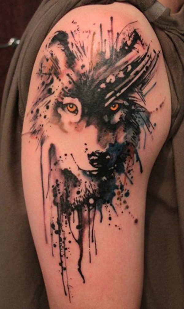 Wolf watercolor tattoo - 65  Examples of Watercolor Tattoo  <3 !  some these are stunning