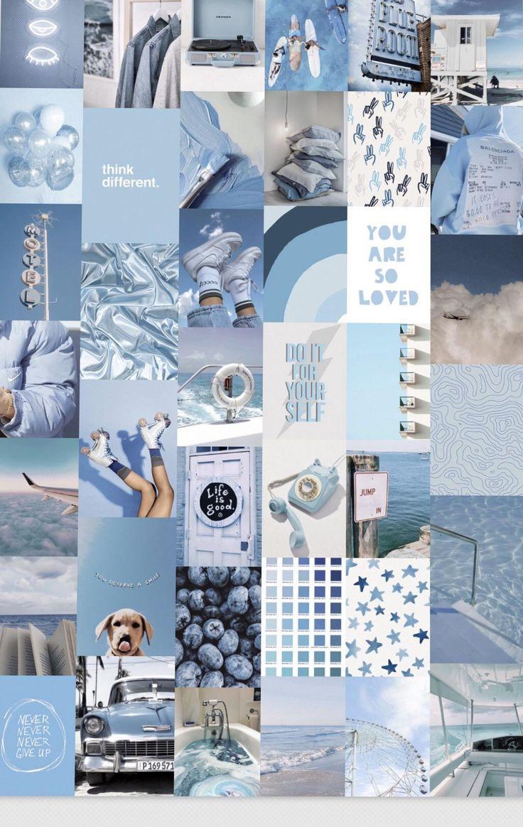 Ocean Blues Wall Collage Kit Digital Blue Wallpaper