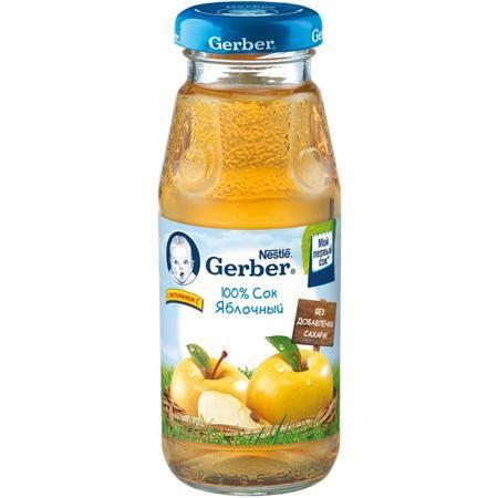 Gerber Сок Яблочный осветленный с 3 мес., 175 мл  — 95р. -------  Gerber Сок Яблоко 3 мес., 175 мл  Фруктовые соки – природный источник органических кислот и минералов, необходимых для здорового роста и развития. Яблочный сок Gerber® изготовлен с использованием особой технологии, позволяющей сохранить натуральный вкус, цвет и запах яблок.   Осветленный сок Gerber Яблоко содержит витамин С, соли калия, магния, фосфор, железо, яблочную, лимонную и другие органические кислоты. Яблочный сок…
