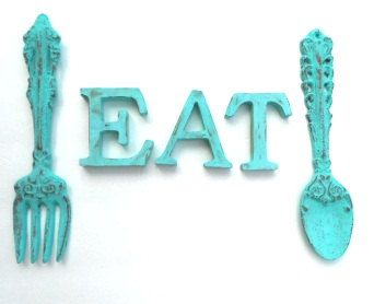 shabby chic turquoise cast iron fork and spoon and eat for kitchen decor - Turquoise Kitchen Decor