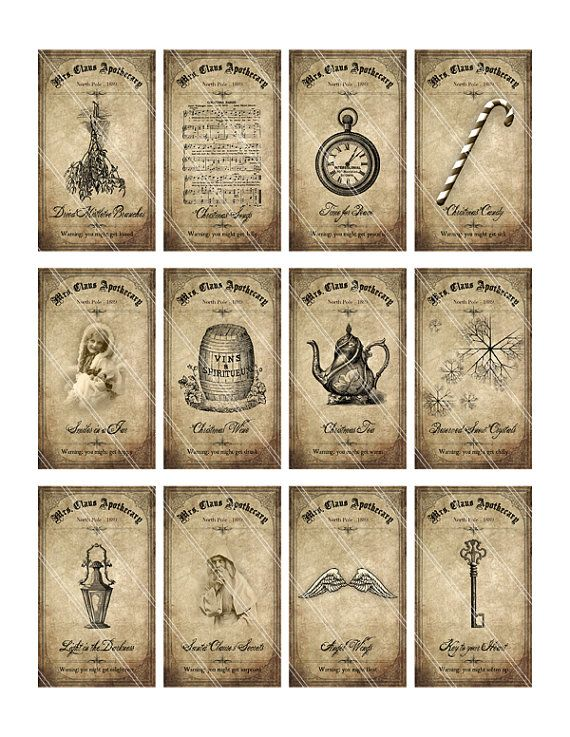 Christmas Apothecary Labels Bottle Labels Tags Instant Download
