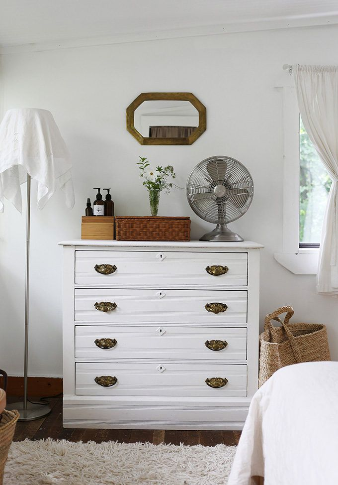 New Hampshire Cottage - antiqued or ivory white wood with bright unlaquered brass *