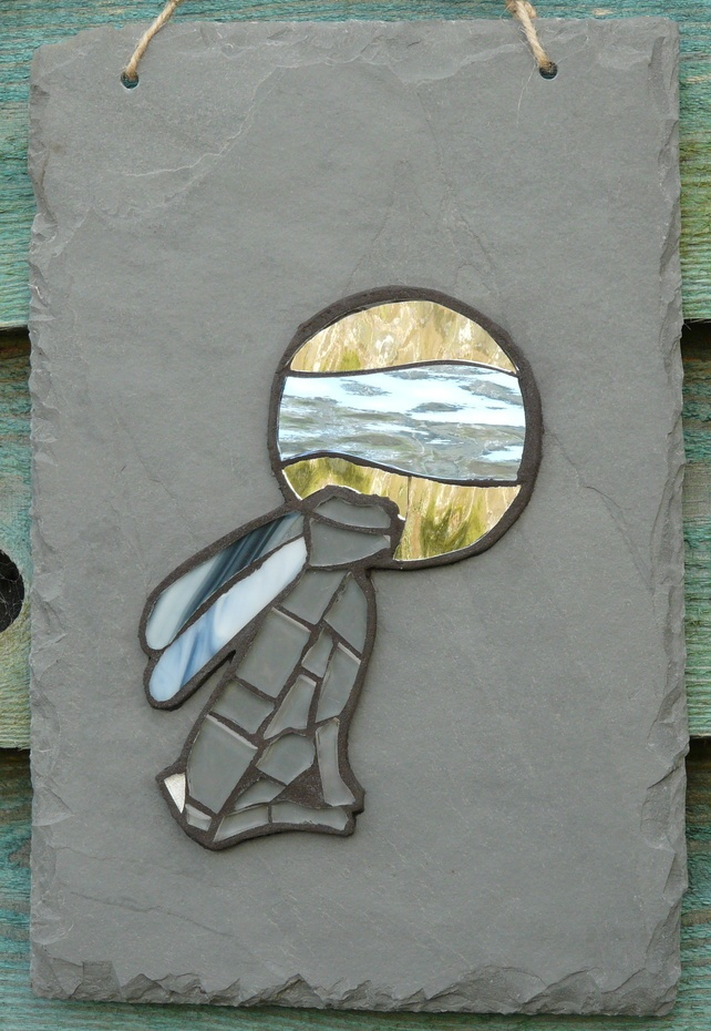 Moon Gazing Hare Mosaic on Recycled Slate £37.50 by Cornish Crafty Made