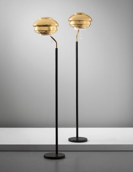 PHILLIPS : UK050313, ALVAR AALTO, Pair of standard lamps, model no. A808, designed for the National Pensions Institute, Helsinki