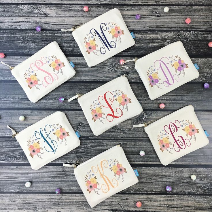 Our floral initial makeup bags are the PERFECT thank you favor for your bridal party! We'll create your designs in your bridesmaids' favorite colors or to match your wedding colors!!