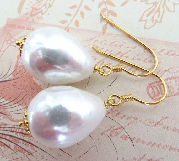 White pearl earrings baroque pearl earrings uk by Sofiasbijoux