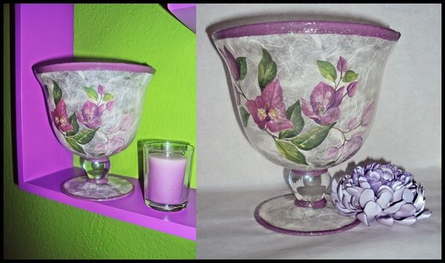Decoupage on glass, purple bougainvillea flower!!