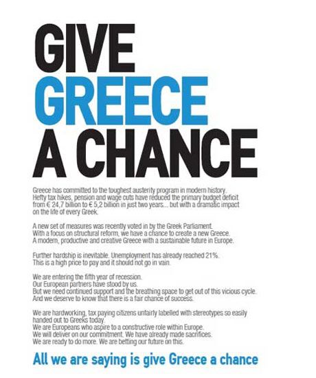 """""""Greece is Changing"""" campaign was a public service initiative funded by a group of 20 leading Greek businesses. This ran in influential international media including The Wall Street Journal, International Herald Tribune, Financial Times, as well as in French, German, Swiss and Dutch papers, in efforts to rebuild confidence in Greece and attract foreign investors."""