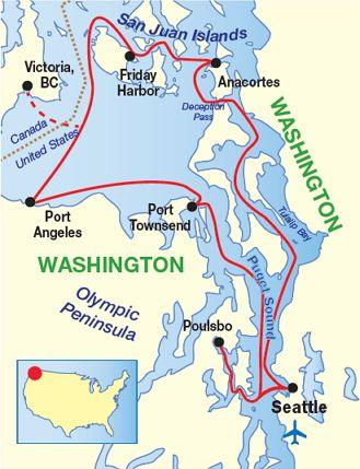 Puget Sound  San Juan Islands Cruise Map  Family memory spots