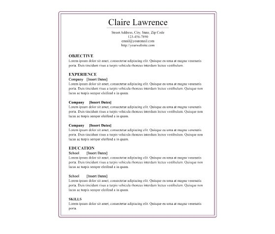 download this purple border resume template and other free printables from myscrapnookcom cover lettersresume - Cover Letter For A Resume Template