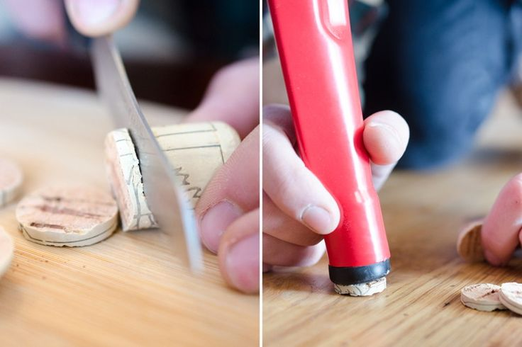 Protect floors from furniture scratches. Slice through corks with a sharp knife and glue discs onto the legs of furniture to prevent floor scratches or to stabilize wobbly legs. You can also use them as cabinet door bumpers.