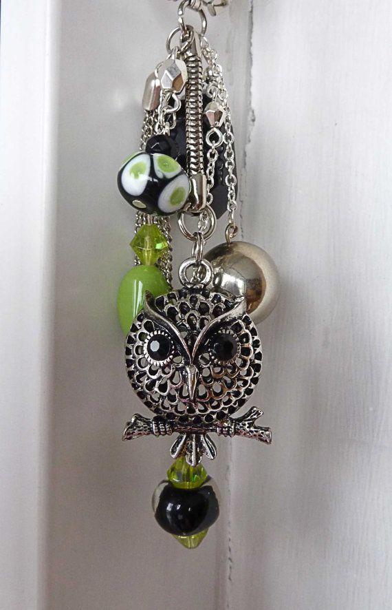 Owl keychain bag bling dangle beaded black silver green. $18.00, via Etsy.