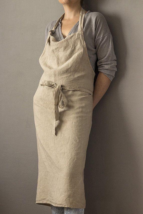Pure linen washed apron Café // unisex // cream by vydravolkmer