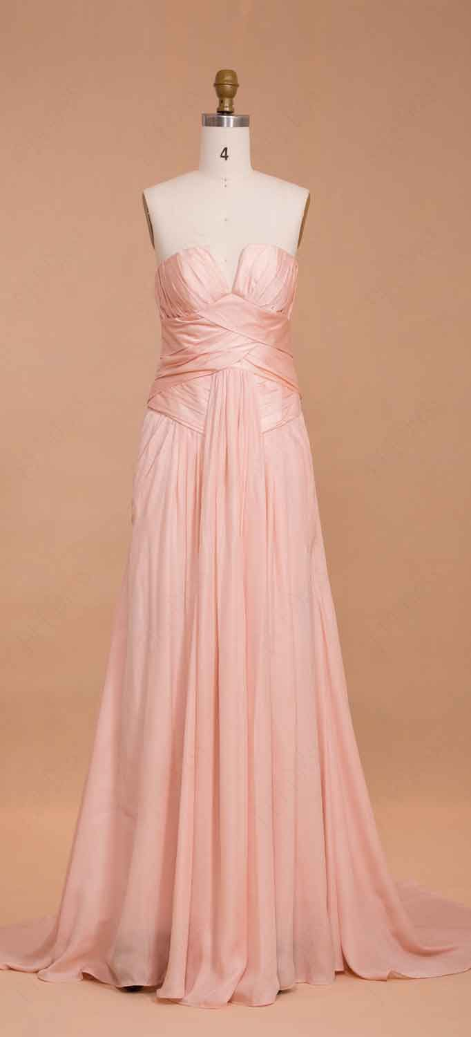 Peach pink long bridesmaid dresses with notched neckline