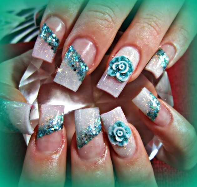 glitter flower nail style - Nail Art Design From CoolNailsArt - 529 Best Nail Me Baby 3.... Images On Pinterest Nail Art Designs
