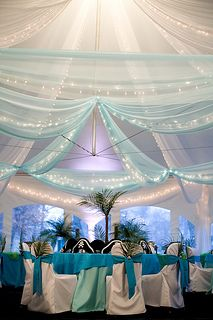 Tiffany blues paired with whites; lightly colored and lit draping contrasts the high canopy tent & 52 best Winter Wonderland | Festivities Holiday Event Theme images ...