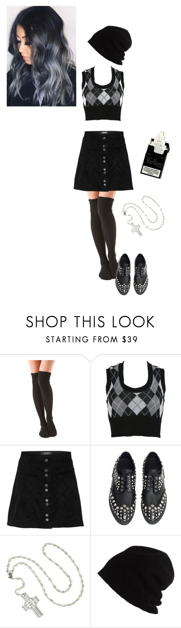 """""""Catholic School Girl"""" by reginalove ❤ liked on Polyvore featuring Falke, Charlotte Russe, Waterford and SCHA"""