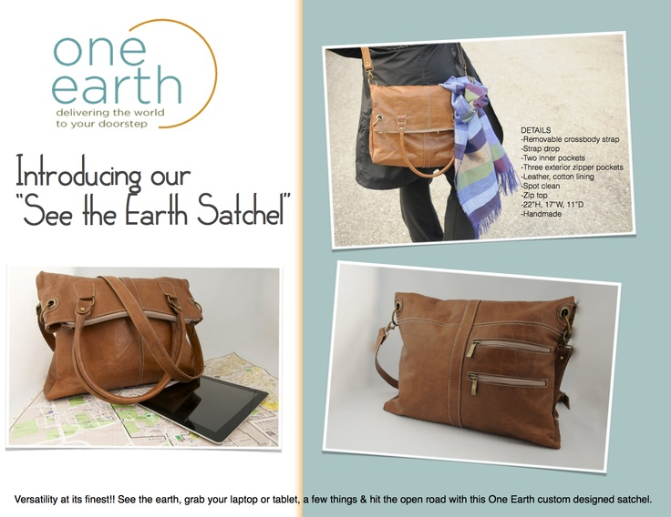 Introducing the One Earth 'See the Earth Satchel'!  Handmade, Leather, Fabulous! www.one1earth.com