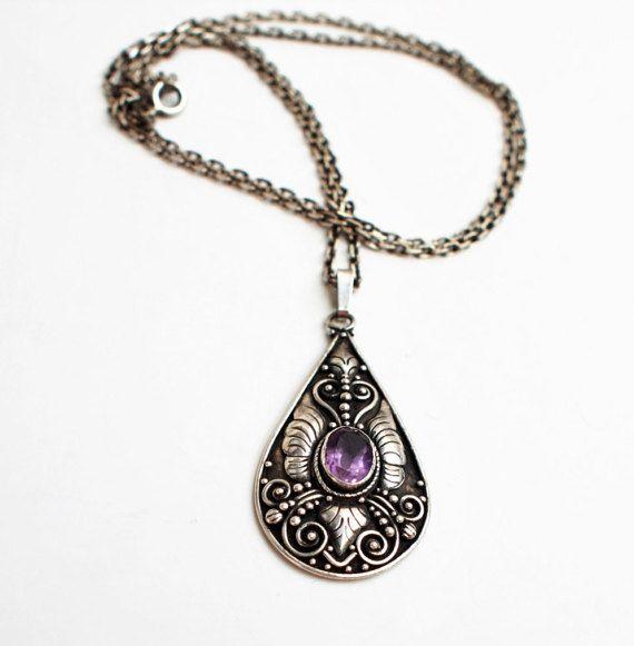 Art Nouveau Silver Pendant With Purple by PrettyDifferentShop
