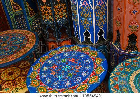 Colored wood moroccan table by apdesign, via ShutterStock