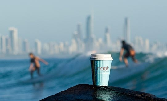 Nook Espresso at Burleigh Heads. All part of the experience.