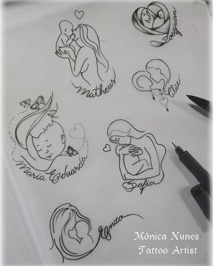 """26 Likes, 7 Comments - Mônica Nunes I Tattoo Artist (@monicanunestattoo) on Instagram: """"Mês das mães entrando... bóra criar modelinhos para as mamães que querem homenagear seus pequenos…"""""""