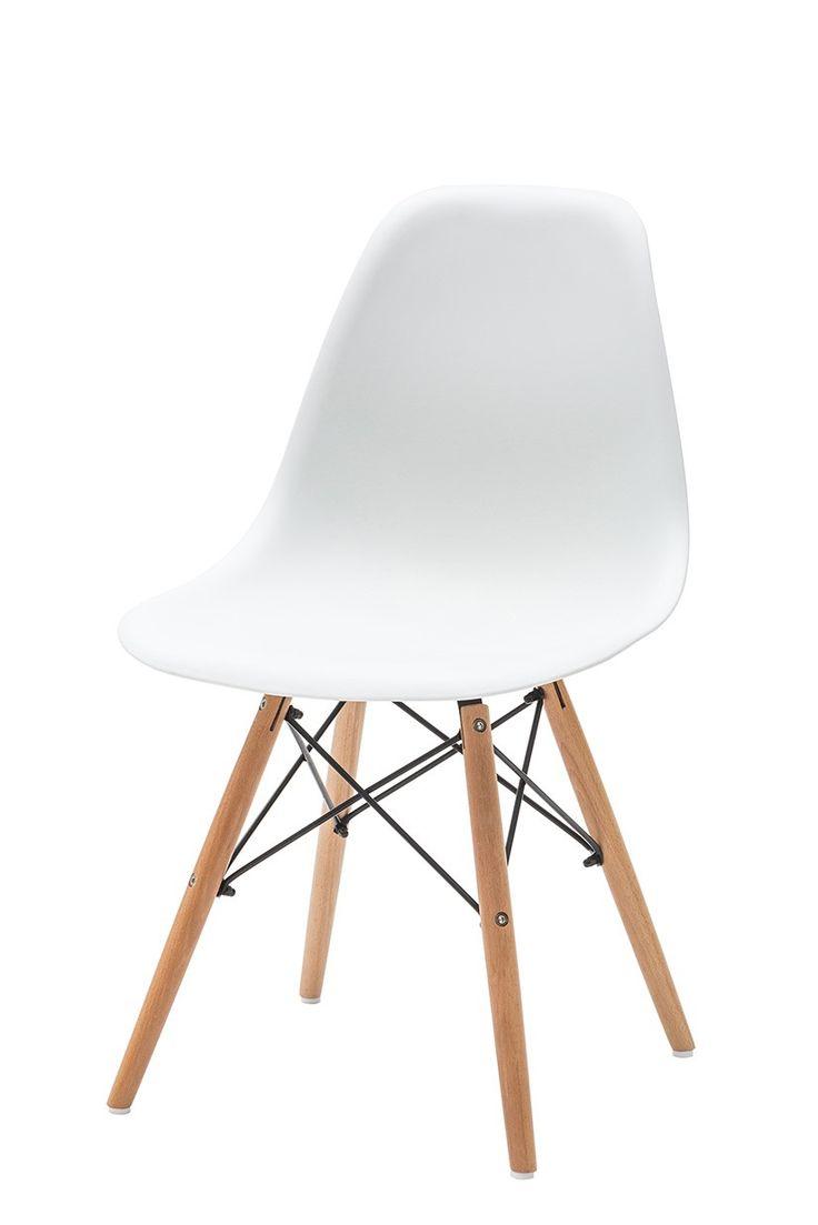 Sedia Moderna e di Design colore Bianco, e seduta ergonomica in pvc, con gambe in legno, tiranti in metallo. Questa sedia, ispirata al modello DAW WOODEN, unisce l'eleganza del design e il fascino scandinavo offrendo così un risultato estremamente chic e rende la vostra zona living di tendenza.Questo modello si adatterà alla perfezione sia alla cucina che alla sala da pranzo o dietro alla vostra scrivania e stile design.Misure: L.47 H.84 P.52 Hs.43 cm
