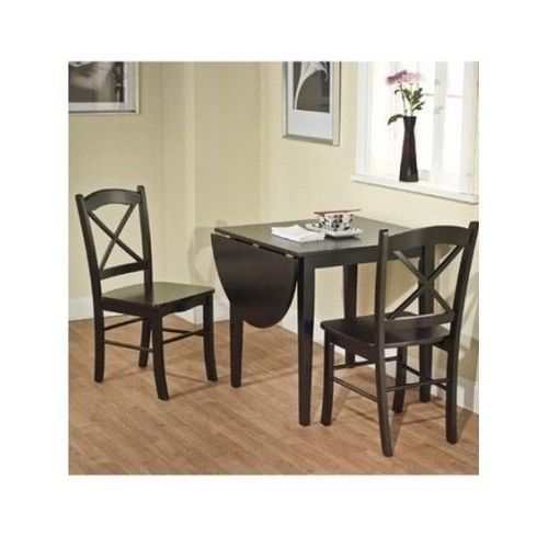 Accent Drop Leaf Table Breakfast Dinette Corner Dining Set Cross Back Chairs