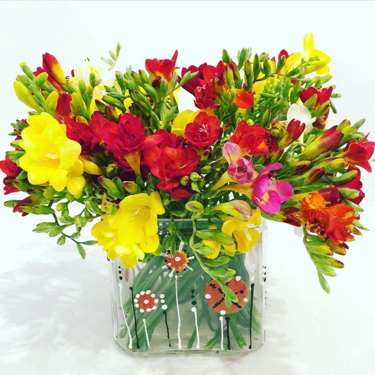 Handpainted glass vases spring flowers fleria.gr