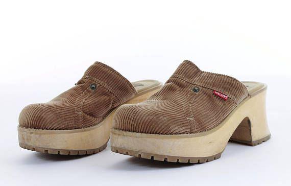 4a53e20028e Platform Skechers 7 Corduroy Mules Shoes Chunky Shoes Tan Brown Wood  Platform 90s Shoes Vintage Wome