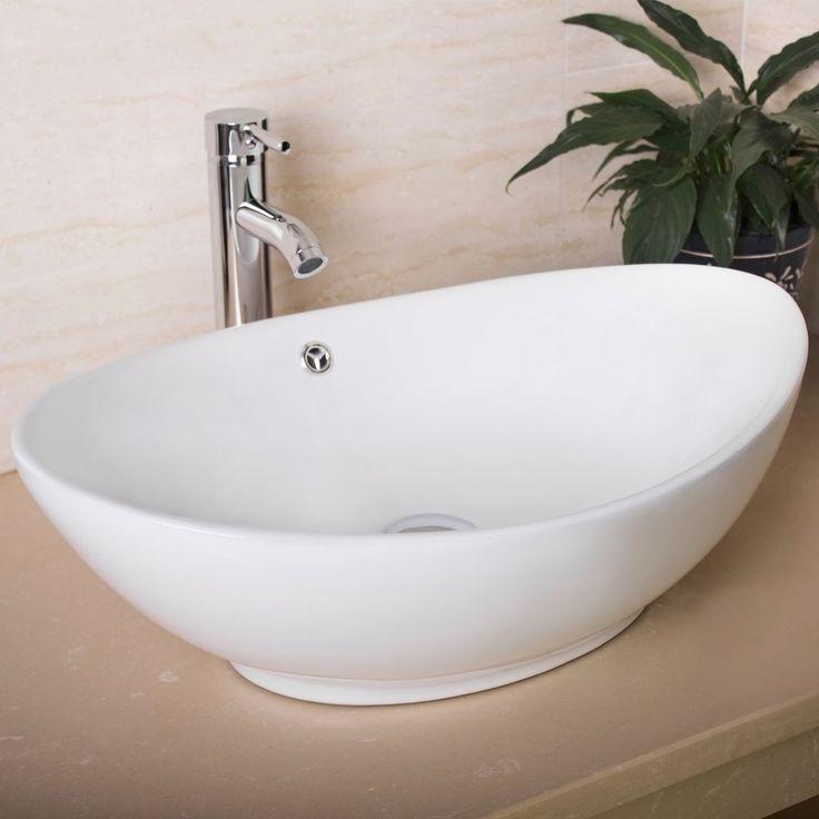 Oval Egg Porcelain Ceramic Bathroom Faucet Vessel Sink
