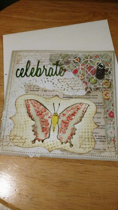 24th birthday card,  Tim Holtz Thinlits,  embossed butterfly