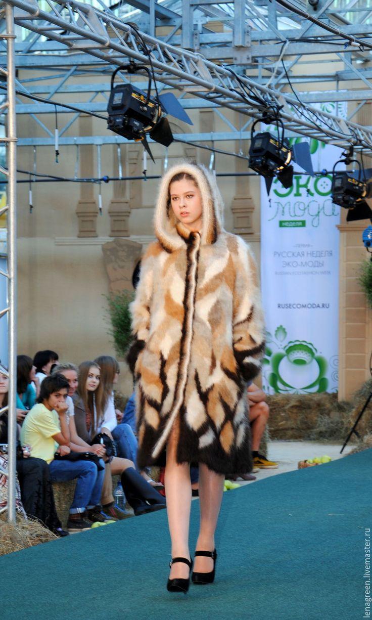 """Купить пальто из собачьей шерсти """"Листья"""", ручное прядение, ручное вязание, н - собачья шерсть"""