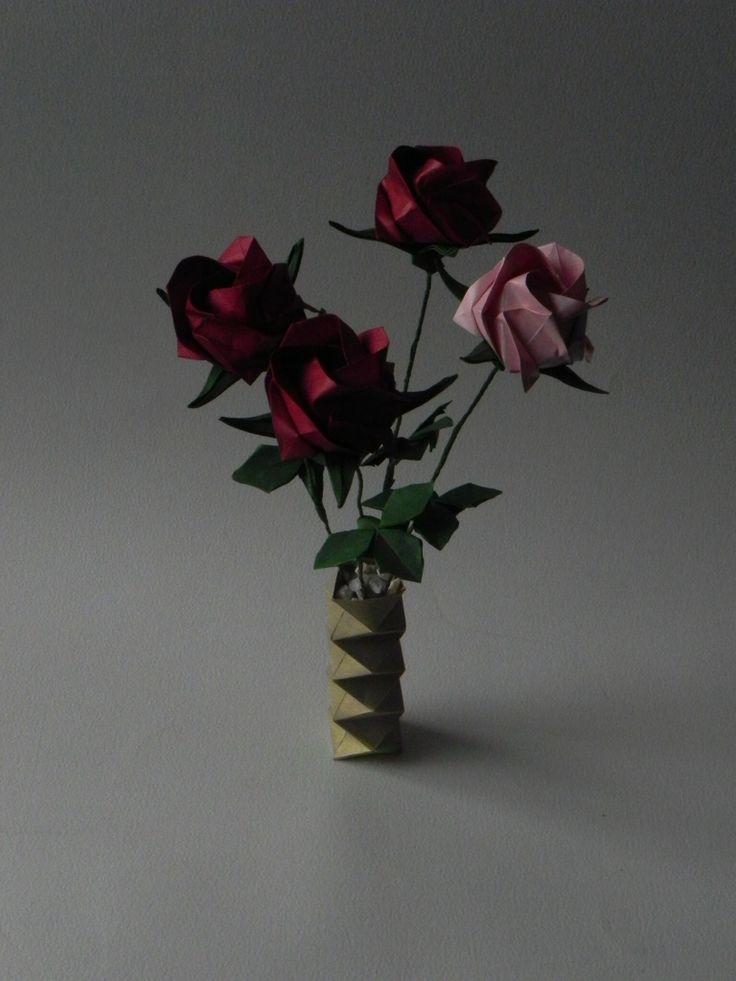 Florero rosas Origami
