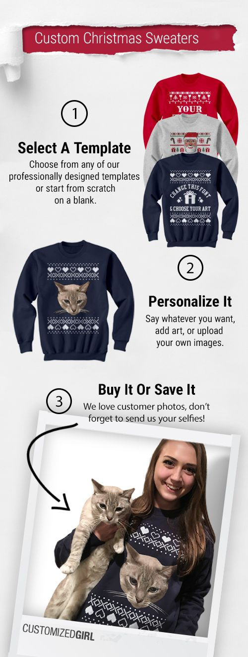 Spread the holiday cheer with custom Christmas sweaters. Add your own art and text to be cute, funny, or ugly - the choice is up to you!
