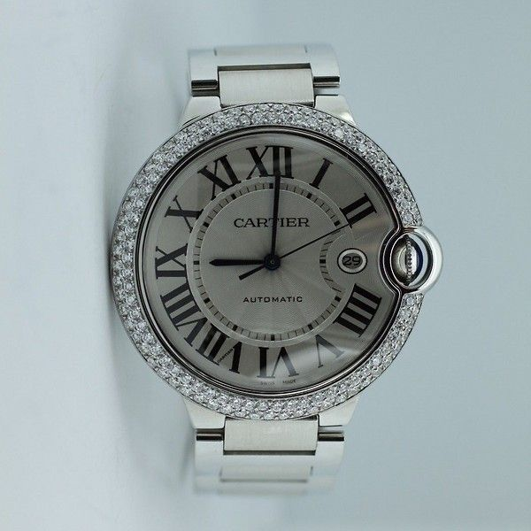 Burdeen's Jewelry - Cartier Stainless Steel Balon Bleu XL with Custom Diamond Bezel on Bracelet