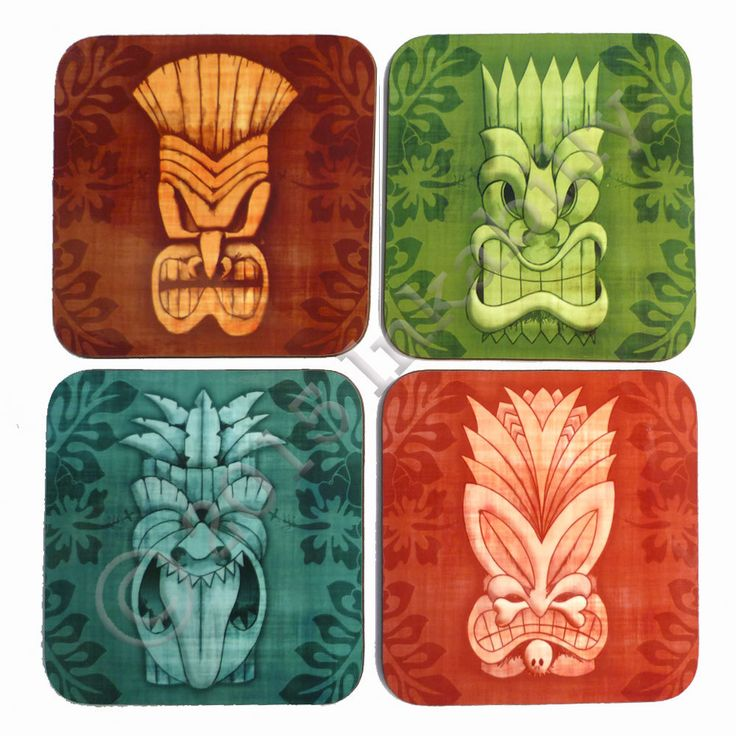 Tiki Coasters set of four Tiki masks hawaiian style tropical coasters Tiki Gift (8.99 GBP) by Inkabilly