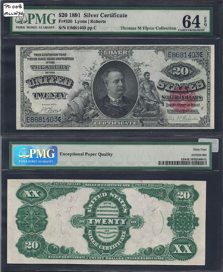 Sergio Sanchez Jr. Currency has this item on Collectors Corner - 1891 $20 Silver Certificates Fr.320 PMG 64