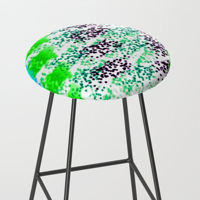 Spongeprint Green Teal Black Barstool By Blakcirclegirl