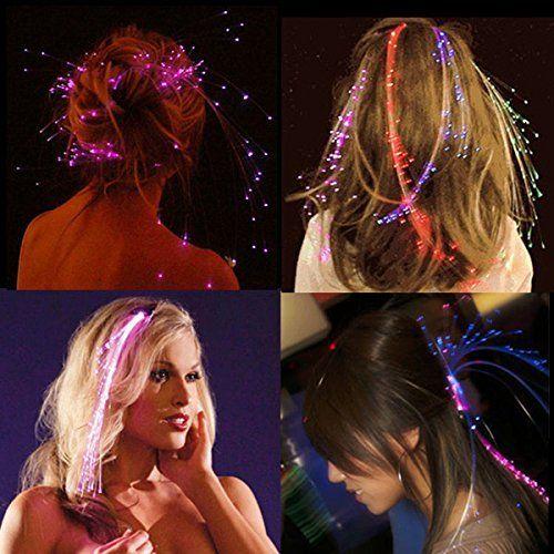 """Innotechcity aufleuchten Faser Optisch LED Haar Lichter (14 """"Strands) - Multicolor Flashing Barette Regenbogen Farben (Alternating Multicolors) Partei Zubehör"""