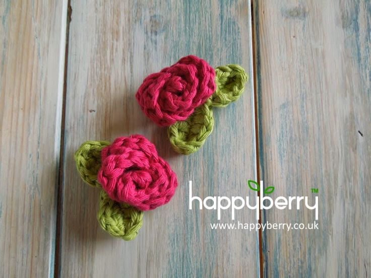 How To Crochet a Mini Rose with Leaves ~ free pattern
