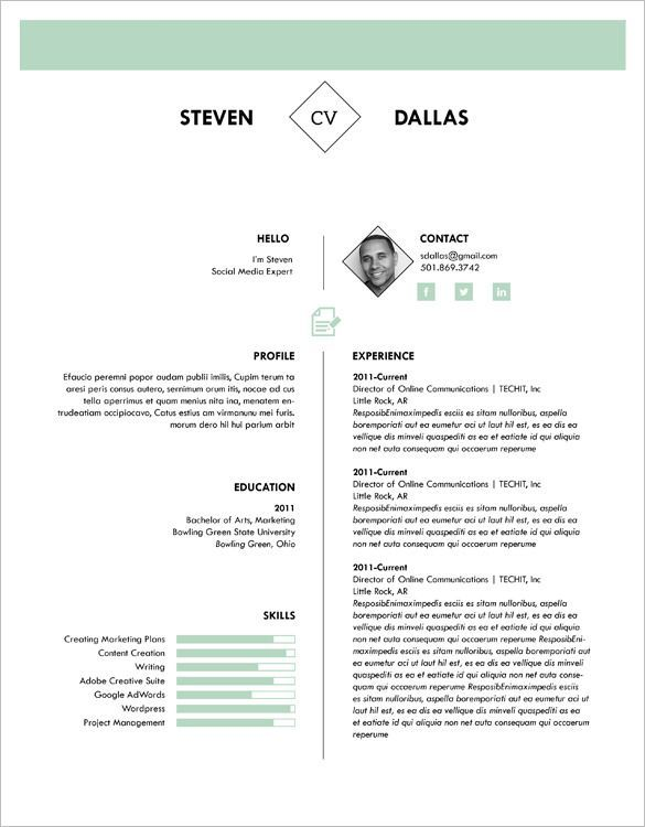 1 Page Cv Template   One page resume template, Best resume ...