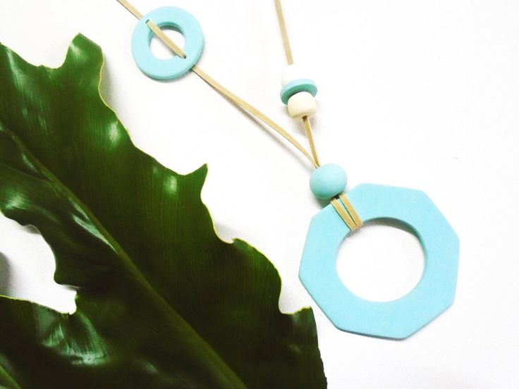 Necklace, statement, big size, handmade in cold ceramic, color block turquoise + white, gift for her, geometric, suede cord, by Musua. by Musua on Etsy