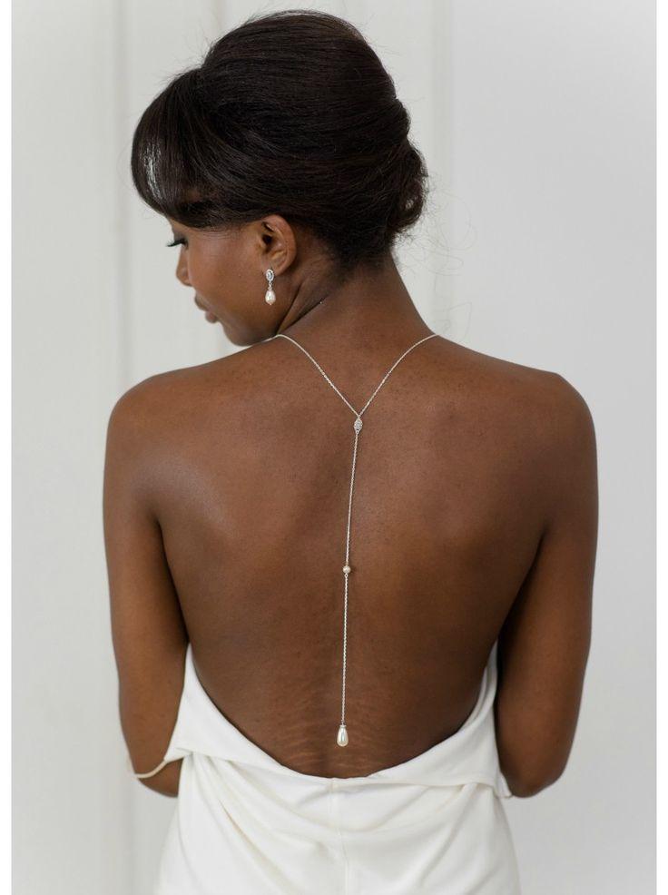 """""""Hanah"""" collier de mariée pour robe dos décolleté avec perle"""
