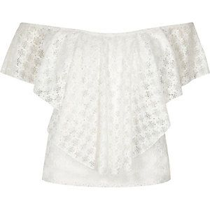 Cream daisy lace overlay bardot top