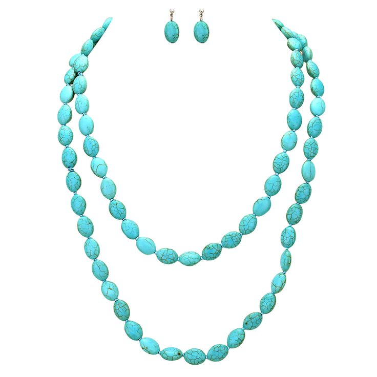 Long Beaded Turquoise Statement Necklace Earring Set Southwest Jewelry