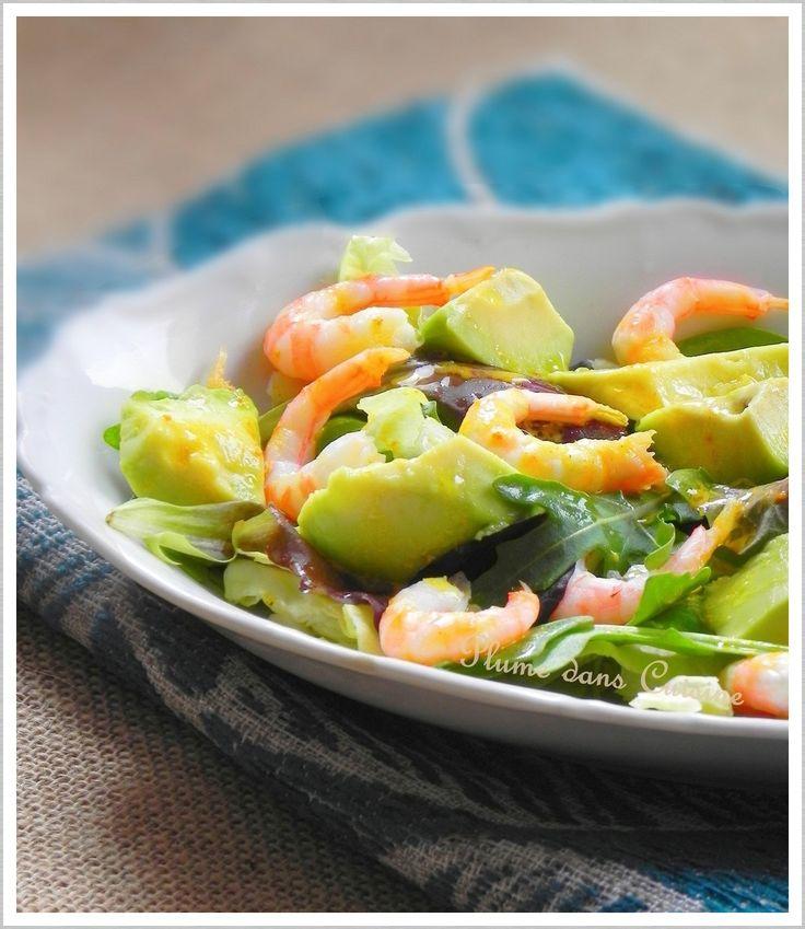 Salade crevettes-avocat avec vinaigrette au curry