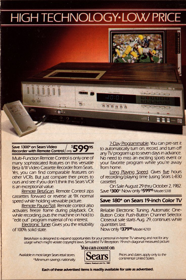 VCR ad from 1982 - high technology, low price of $599.95.