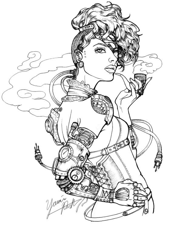 steampunk girl coloring pages - photo#25